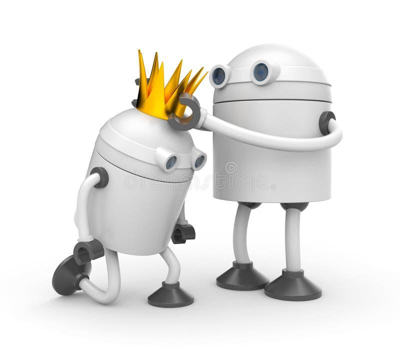 De kroning Robot met kroon - koning vector illustratie
