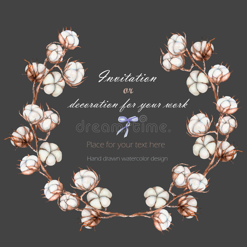 De kroon, cirkelkader met de katoenen die bloemen vertakt zich, hand op een donkere achtergrond wordt getrokken royalty-vrije illustratie
