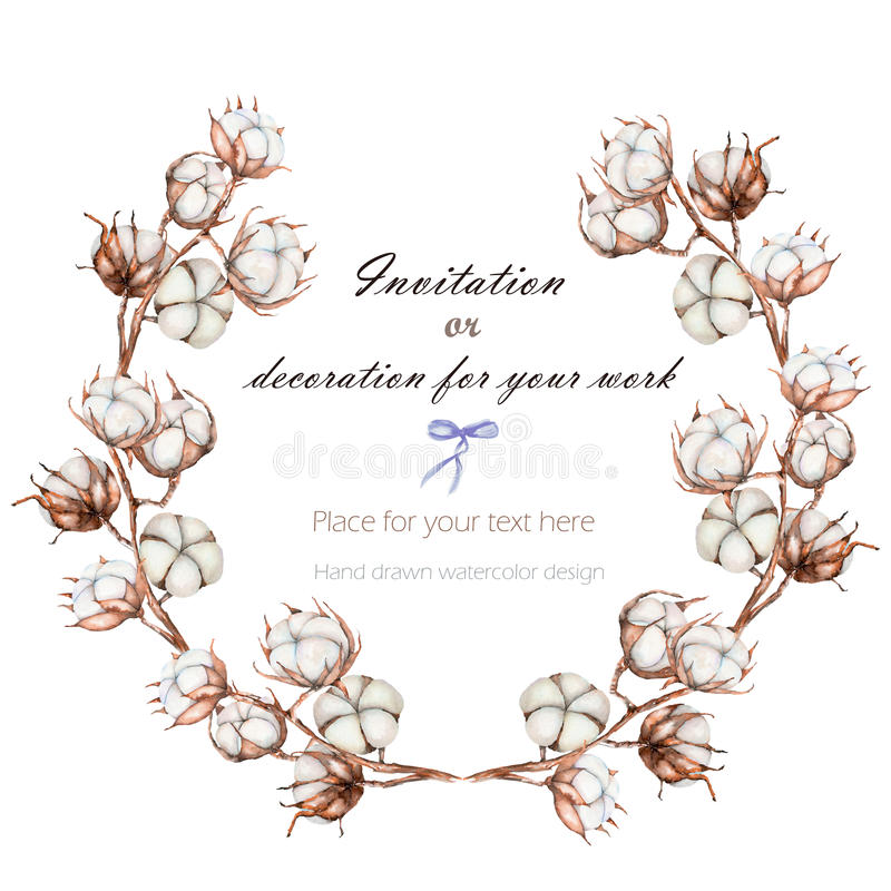 De kroon, cirkelkader met de katoenen die bloemen vertakt zich, hand op een witte achtergrond wordt getrokken royalty-vrije illustratie