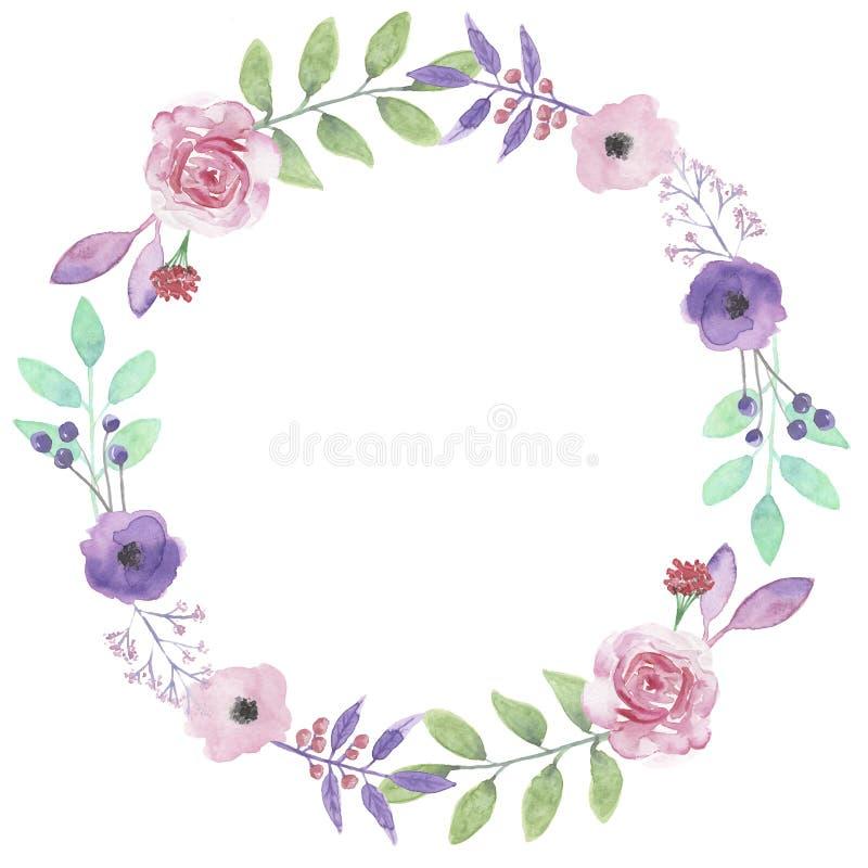 De Kroon Purpere Rose Garland Leaf Pink Roses van de waterverfbloem vector illustratie