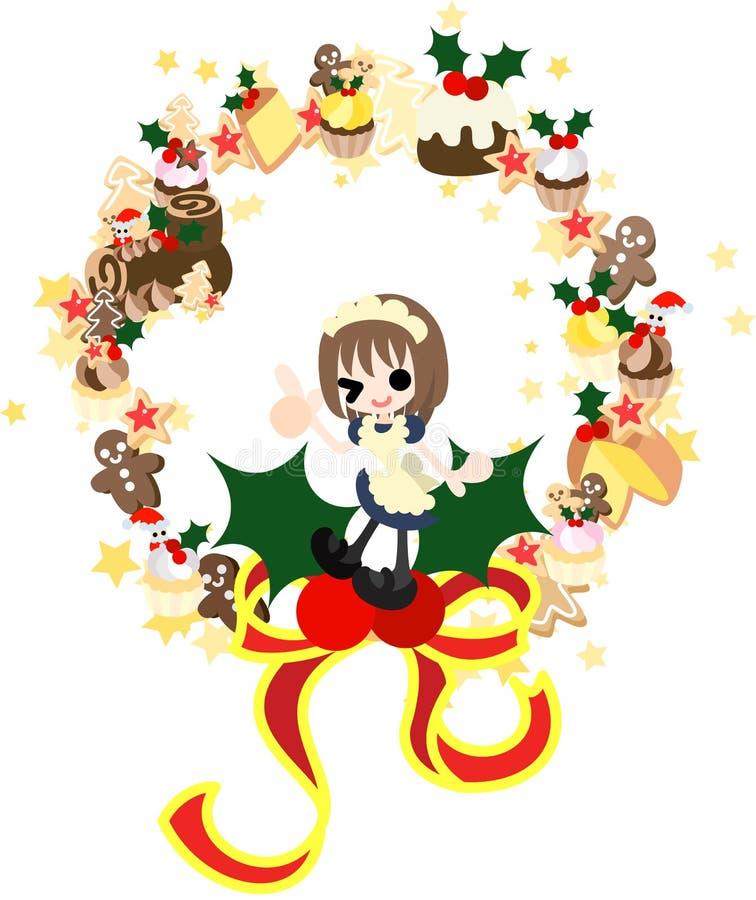 De kroon van de cakes van Kerstmis vector illustratie