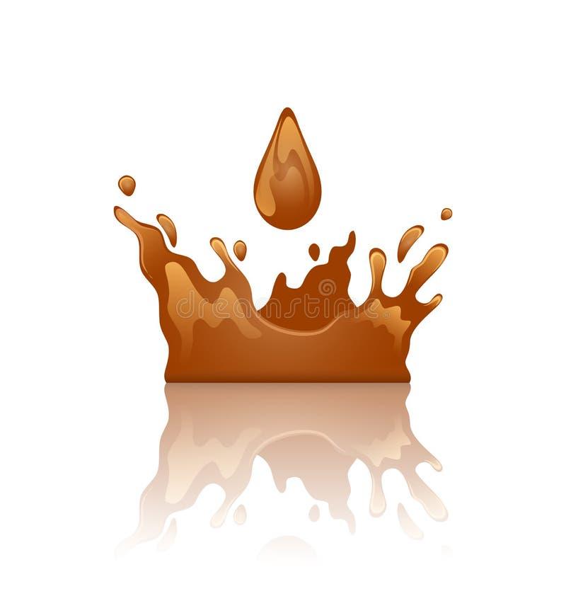De kroon van de chocoladeplons met druppeltje en bezinning,  royalty-vrije illustratie