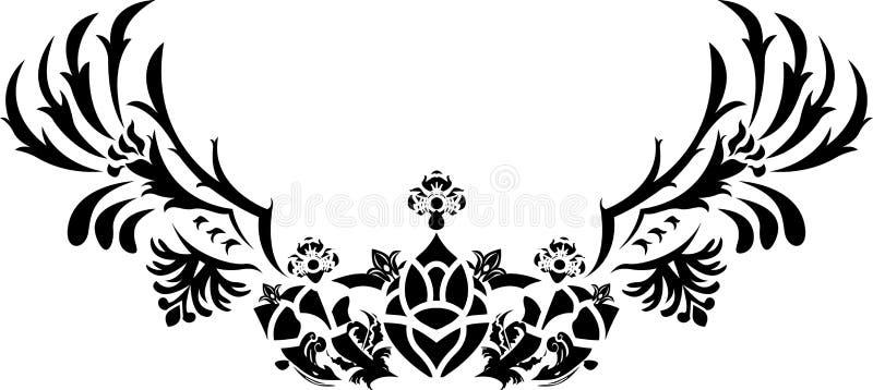 De kroon van de fantasie met vleugelsstencil vector illustratie