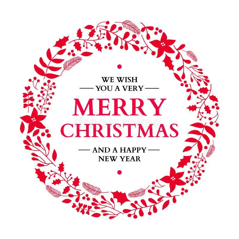 De kroon van de Kerstmiskrabbel met groet Vector vakantiekaart Kerstmis vector illustratie