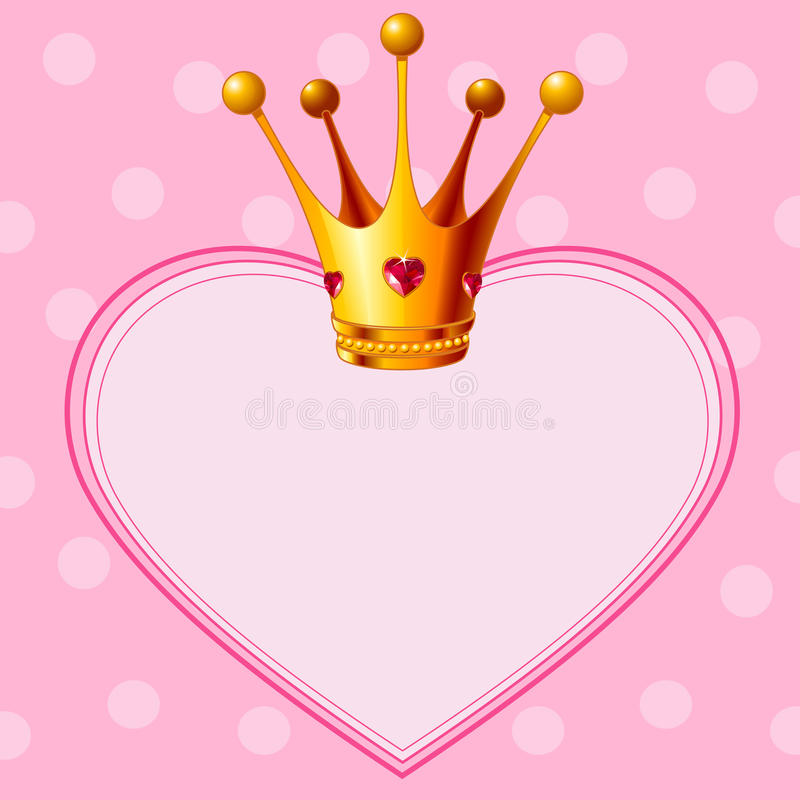 De Kroon van de prinses op roze achtergrond stock illustratie