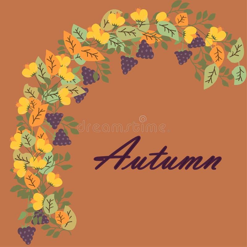 De kroon van de herfst gaat weg en bloeit Bloemen achtergrond vector illustratie