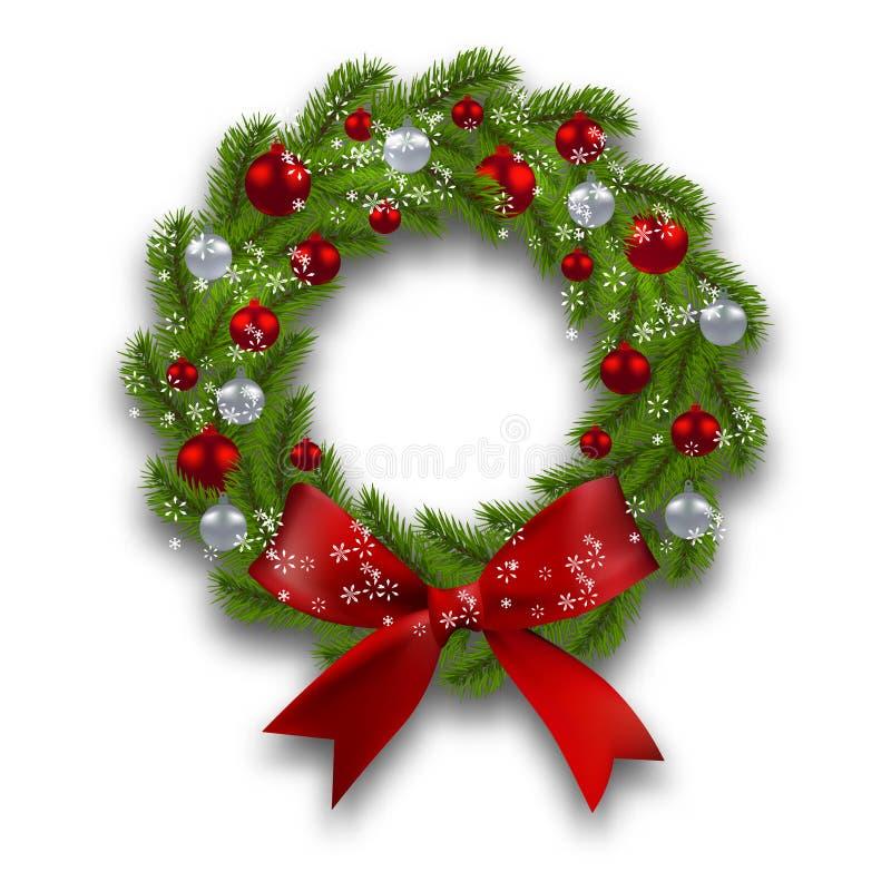 De kroon van Kerstmis Groene tak van spar met rode, zilveren ballen en lint op een witte achtergrond Het trekken en modellering v vector illustratie