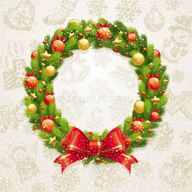 De kroon van Kerstmis met boog & snuisterijen stock illustratie