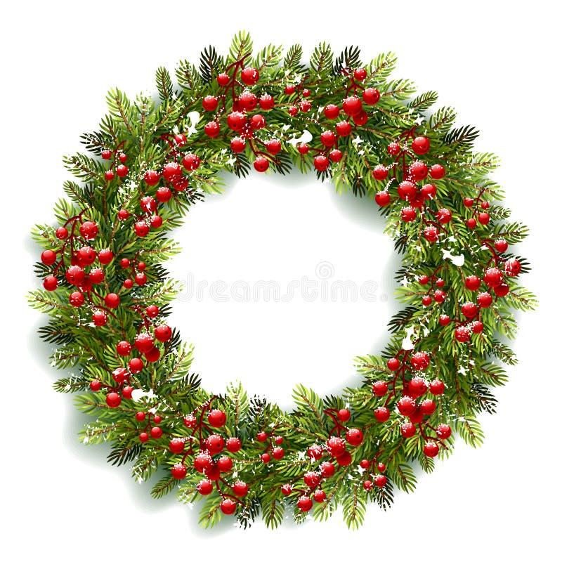 De kroon van Kerstmis met rode bessen vector illustratie