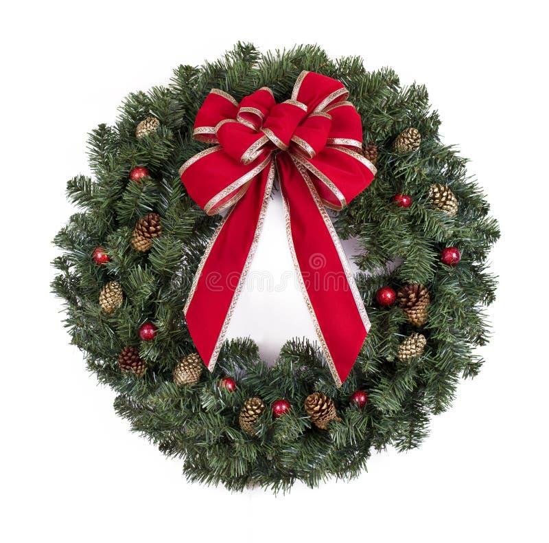 De kroon van Kerstmis met rode boog stock afbeeldingen