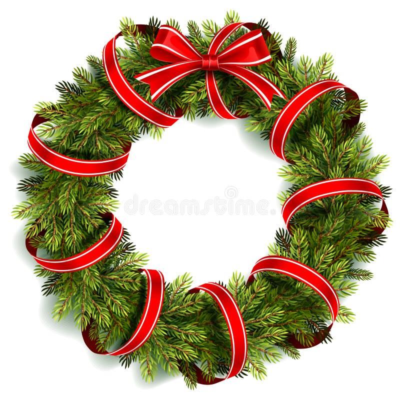 De kroon van Kerstmis met rode boog stock illustratie