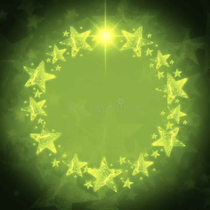 De kroon van Kerstmis van gouden sterren over groene achtergrond met tekst vector illustratie