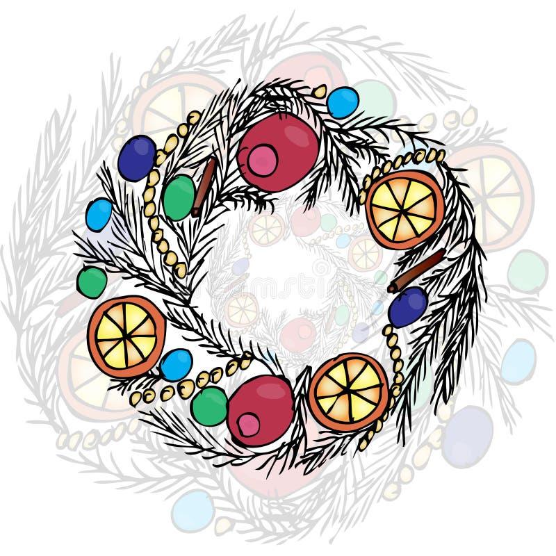 De kroon van Kerstmis Voering en kleur stock illustratie