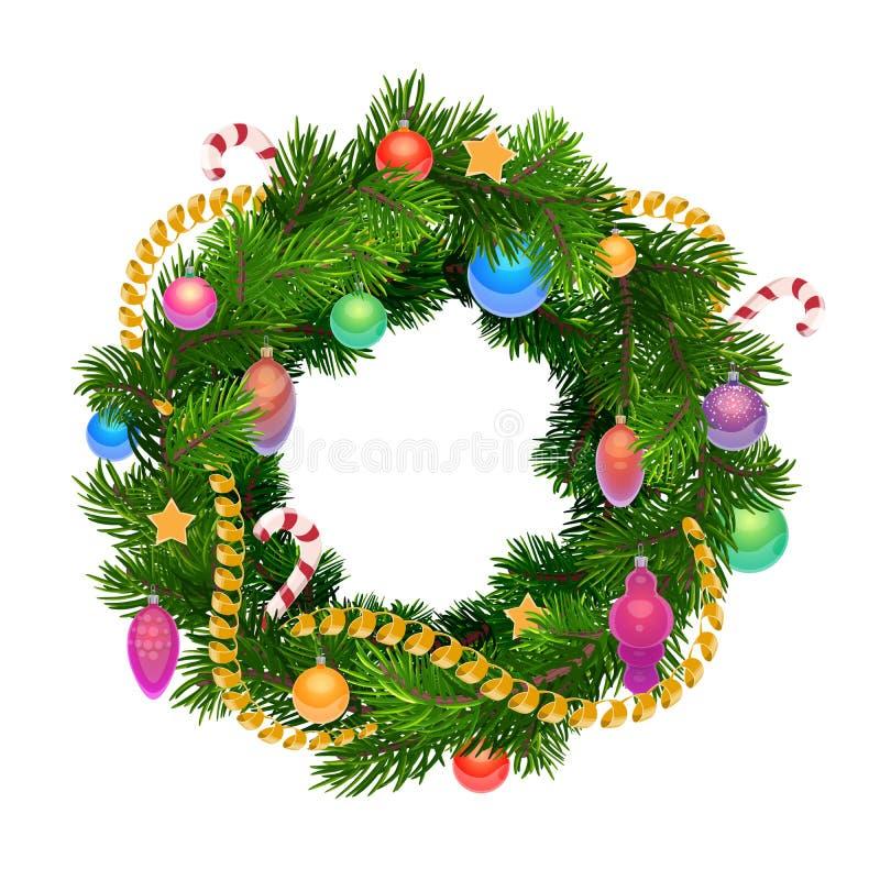 De kroon van de Kerstmisvakantie met ballen en decoratie royalty-vrije illustratie