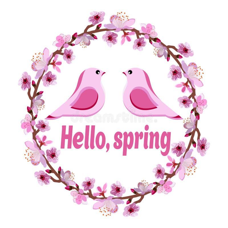 De kroon van takken van een bloeiende boom met twee roze vogels en de woorden Hello springen op vector illustratie