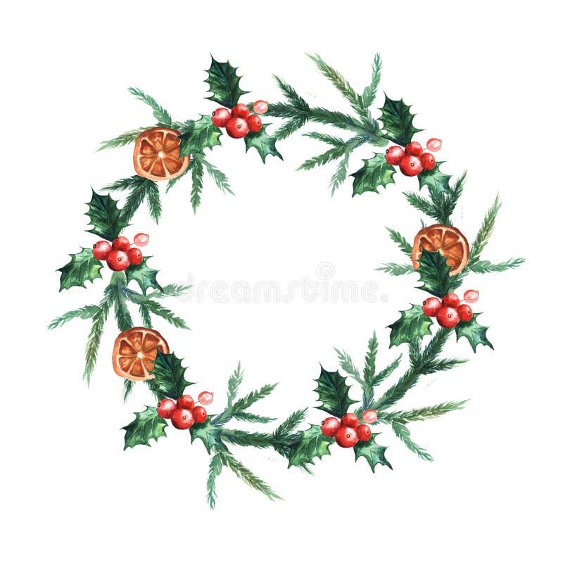 De kroon van waterverfkerstmis met misletoe, sinaasappelen en takken van Kerstbomen royalty-vrije illustratie