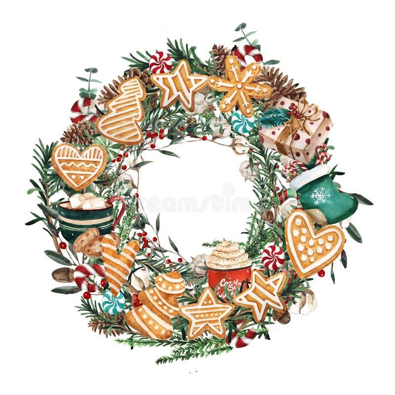 De kroon van waterverfkerstmis met peperkoekkoekjes en takken Hand getrokken illustratie Goed voor kaarten en Kerstmisdecoratio vector illustratie