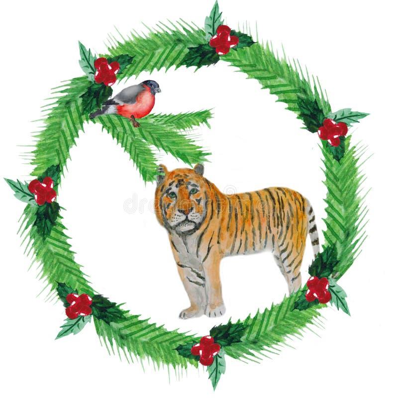 De kroon van waterverfkerstmis van spar vertakt zich, rode bessen, met tijger en bullfincher stock illustratie