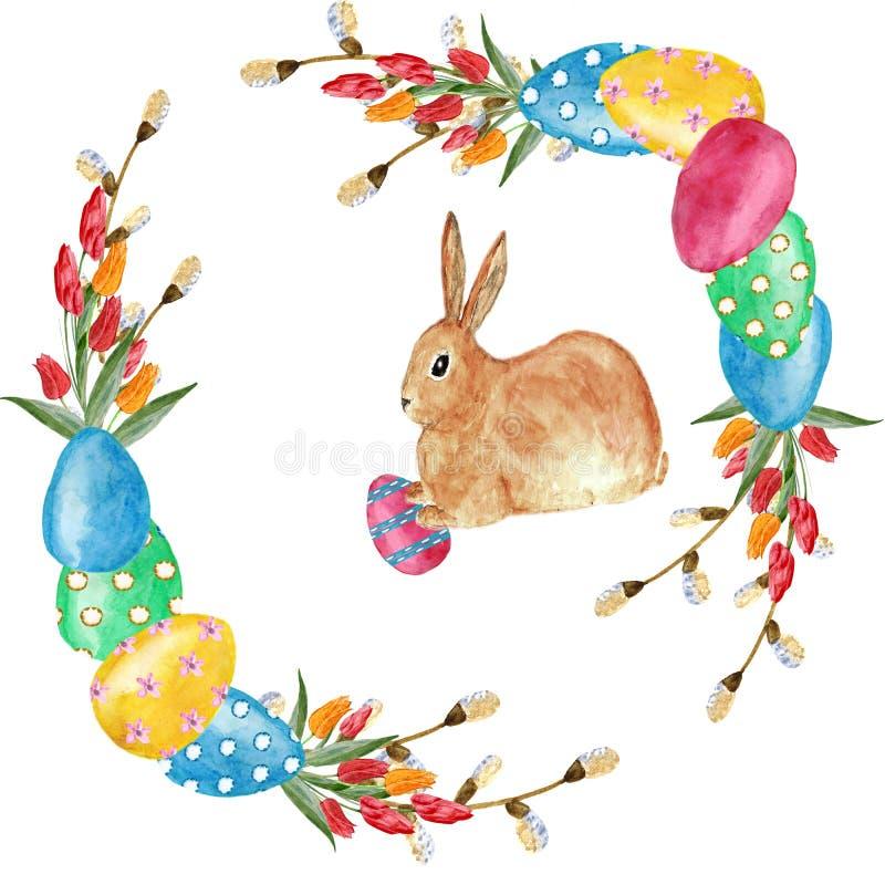 De kroon van waterverfpasen van bloementulpen, takken van wilg, eieren en konijn Ontwerpelement voor groetkaarten stock illustratie