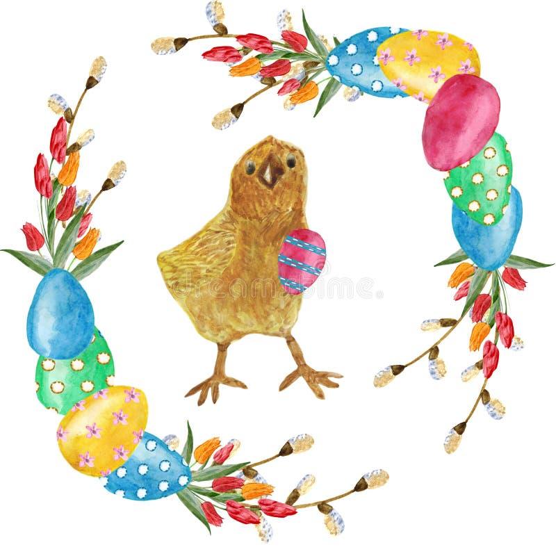 De kroon van waterverfpasen van bloementulpen, wilg vertakt zich, eieren en kip Ontwerpelement voor groetkaarten vector illustratie