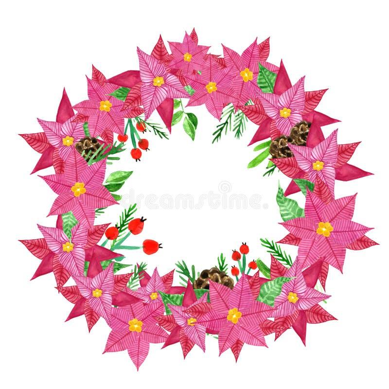 De kroon van de winterkerstmis op deur met rode poinsettia bloeit, hulstbessen en denneappels De illustratie van de waterverf royalty-vrije illustratie