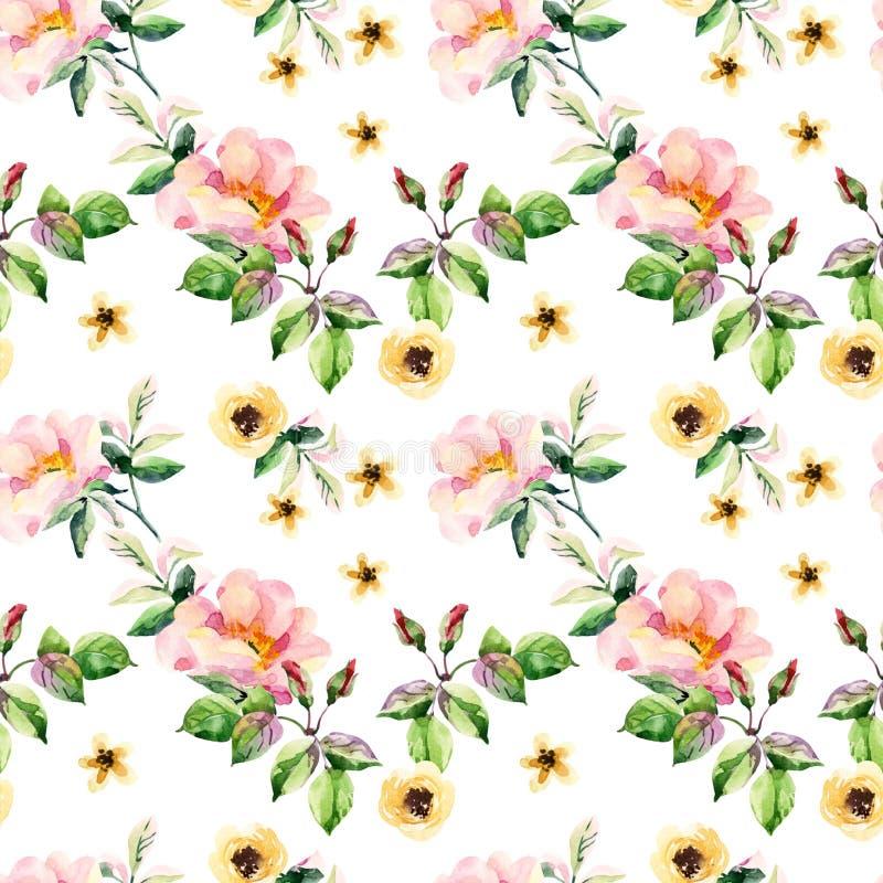 De kruiden en de bloemen naadloos patroon van de waterverfweide vector illustratie
