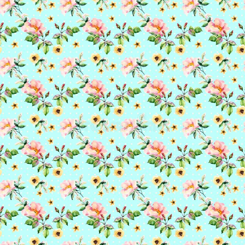De kruiden en de bloemen naadloos patroon van de waterverfweide stock illustratie