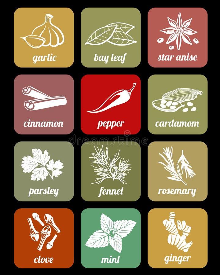 De kruiden en de kruiden, koken culinaire ingrediënten vectorpictogrammen stock illustratie
