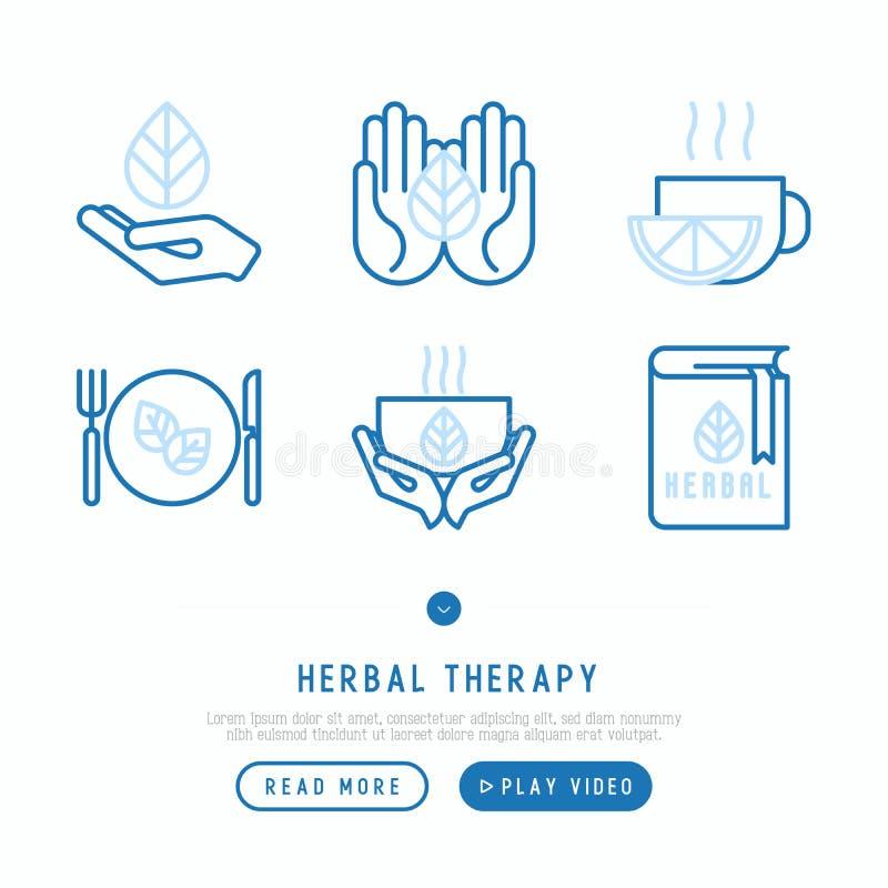 De kruiden geplaatste pictogrammen van de therapie dunne lijn royalty-vrije illustratie