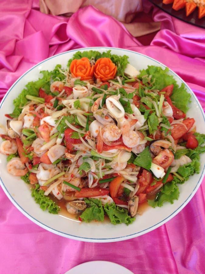 De kruidige Salade van Zeevruchten royalty-vrije stock afbeeldingen