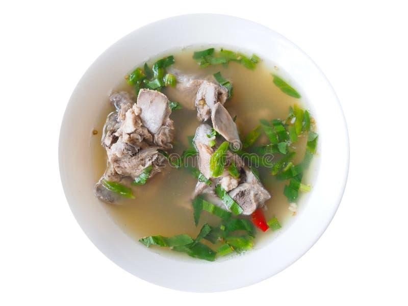 De kruidige soep van het varkensvleesbeen stock afbeeldingen