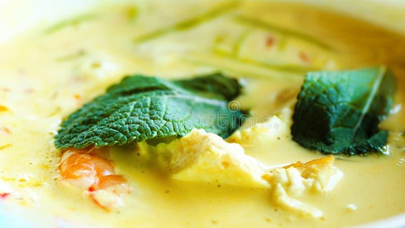 De kruidige de soepkerrie van de kokosmelkroom met chiken, tijgergarnalen, lange sojanoedels, taugé, kalk, Spaanse peperspeper en stock foto