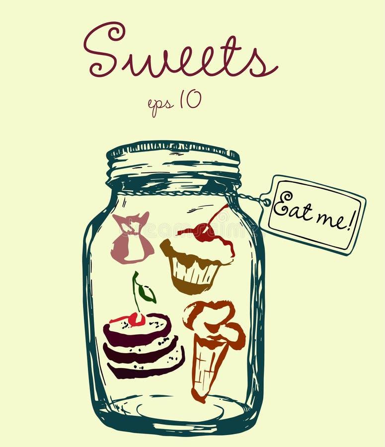 De kruik met snoepjes en het etiket eten me Roomijs, snoepjes, cake en pannekoeken Hand-drawn vector artistieke illustratie voor royalty-vrije illustratie