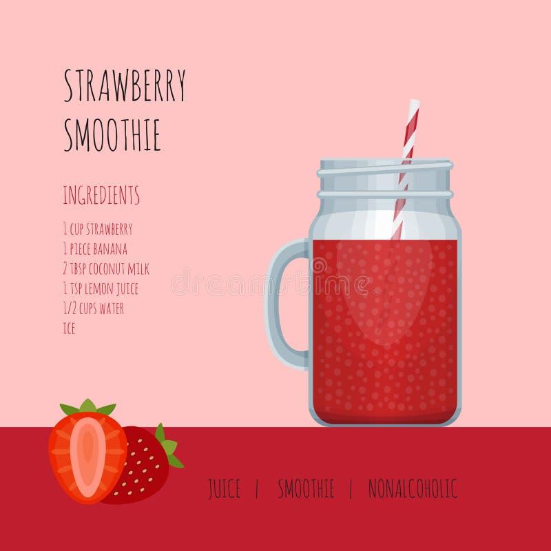 De kruik van de aardbei smoothie metselaar met recepten en ingrediënten stock illustratie