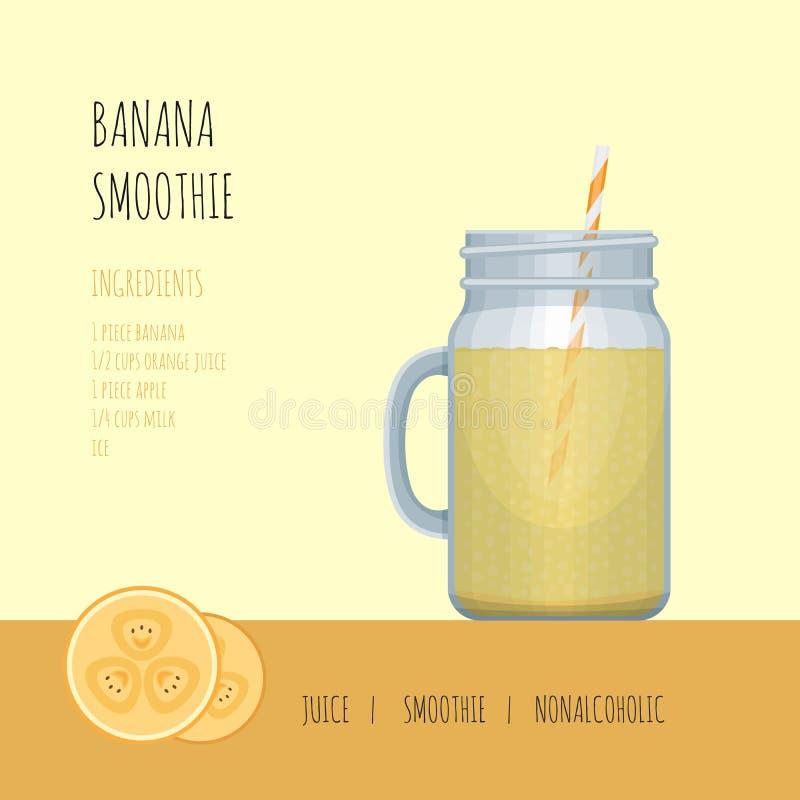De kruik van de banaan smoothie metselaar met recepten en ingrediënten smoothie vector illustratie