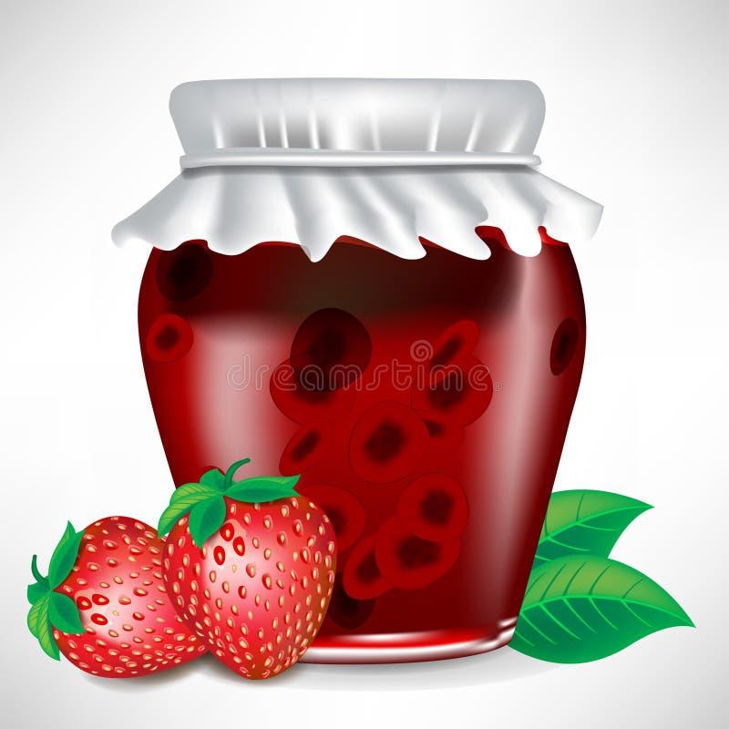 De kruik van de aardbei jam met fruit royalty-vrije illustratie
