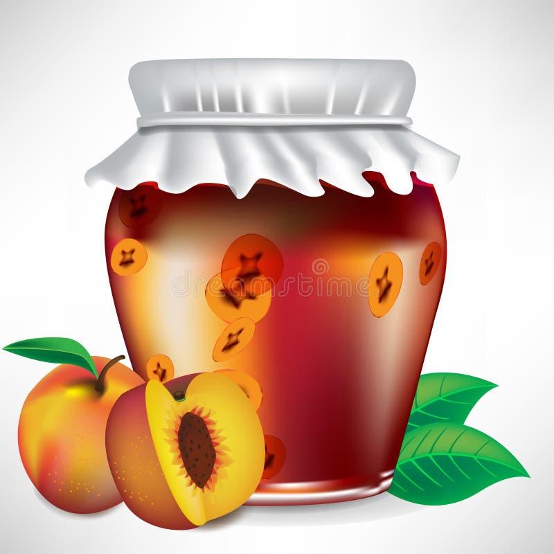 De kruik van de perzik jam vector illustratie