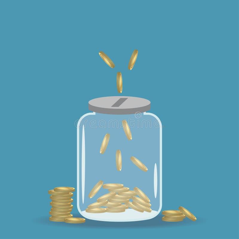 De kruik van de geldbesparing Gouden muntstukken in bank Vector royalty-vrije illustratie