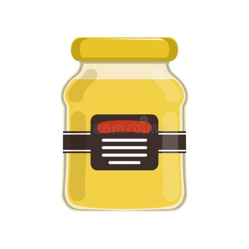 De kruik van het beeldverhaalglas met natuurlijke honing Bank met merketiket Zoet Voedsel Biologisch product van bijenstallandbou stock illustratie