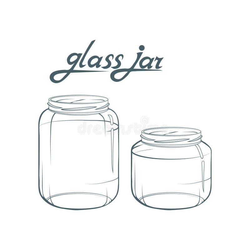 De kruik van het glas Getrokken kruikhand Het van letters voorzien van glaskruik vector illustratie