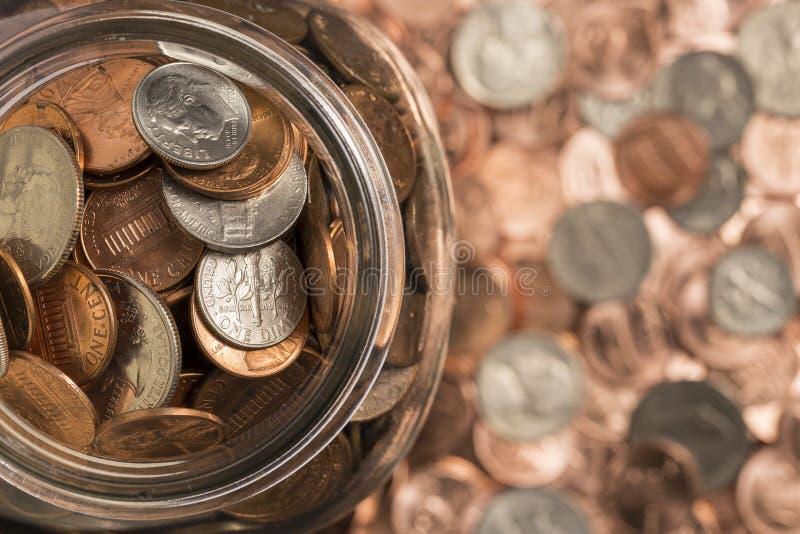 De kruik van het muntstuk stock foto