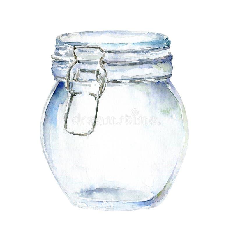 De kruik van het waterverfglas met op witte achtergrond vector illustratie