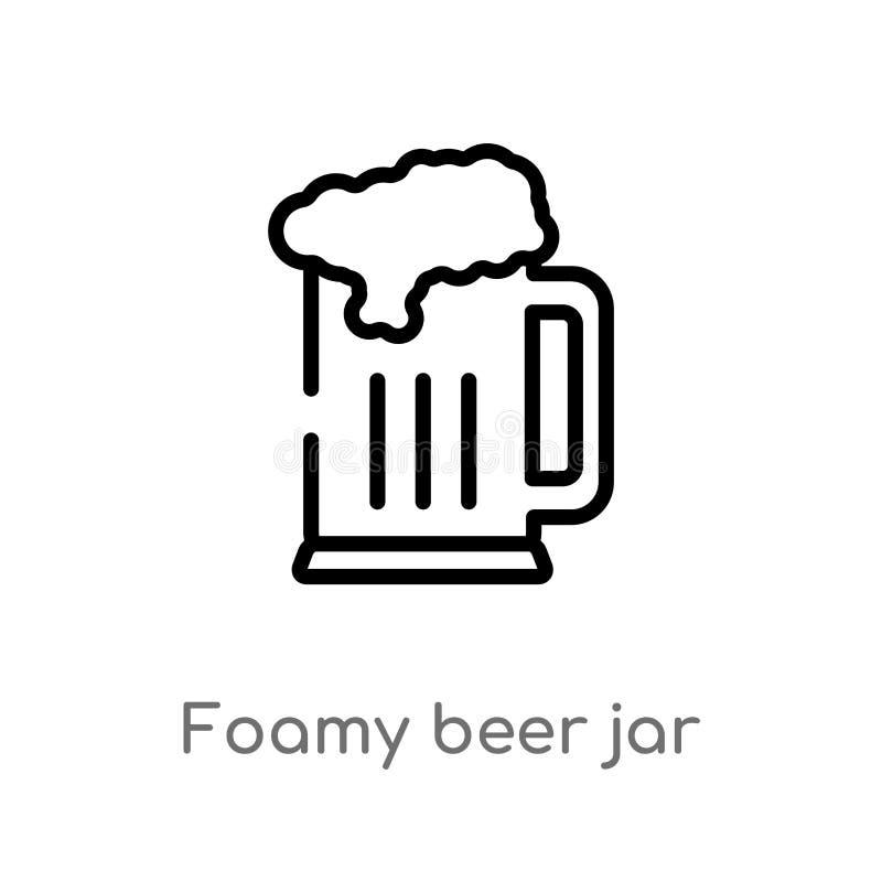 de kruik vectorpictogram van het overzichts schuimend bier de ge?soleerde zwarte eenvoudige illustratie van het lijnelement van b stock illustratie