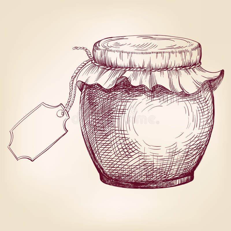 De kruiken jam overhandigen getrokken vectorllustrationschets royalty-vrije illustratie