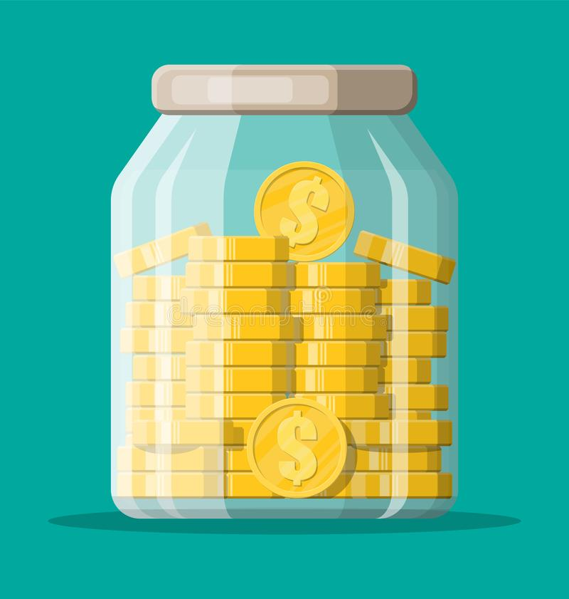 De kruikhoogtepunt van het glasgeld van gouden muntstukken vector illustratie