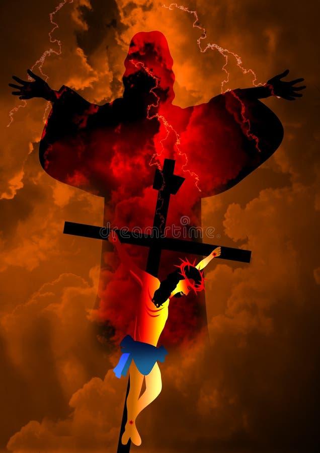 De kruisiging en de verrijzenis van Jesus Christ stock afbeeldingen