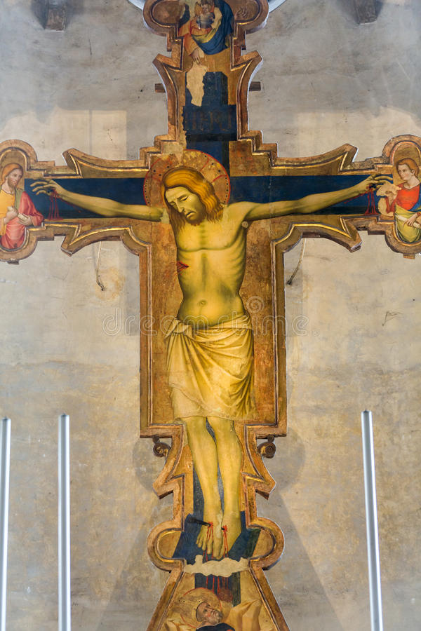 De Kruisiging van jaar 1370 door Guariento in de pastorie van degli Eremitani van kerkchiesa Padua, stock foto's