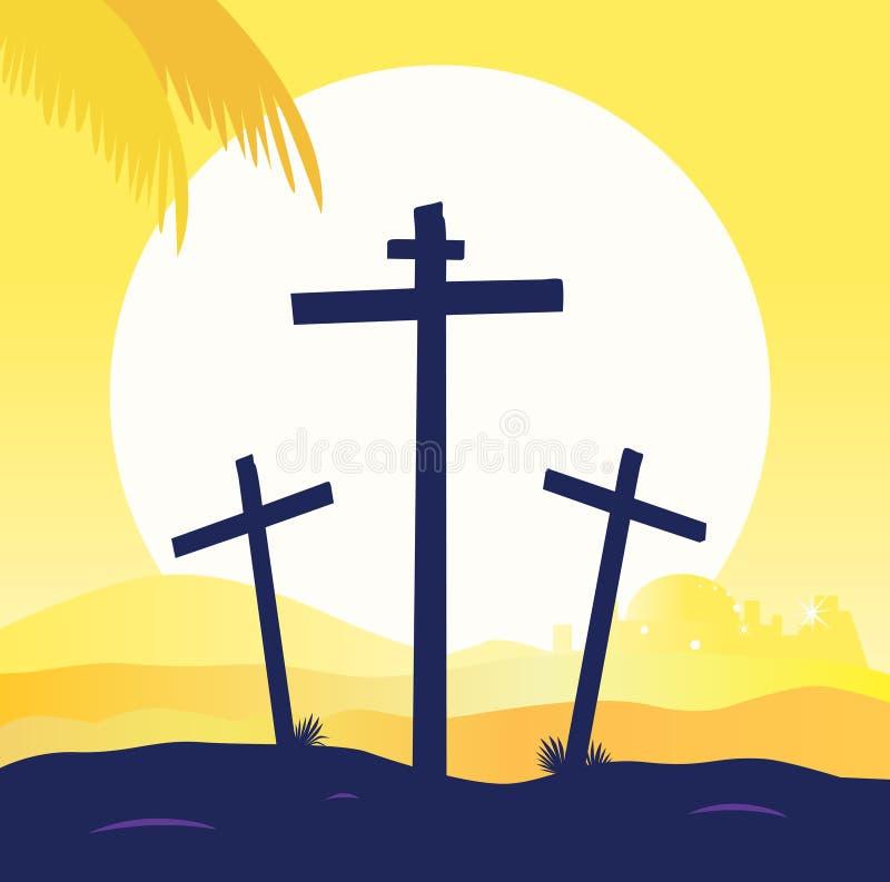 De kruisiging van Jesus - calvary scène met kruis drie stock illustratie