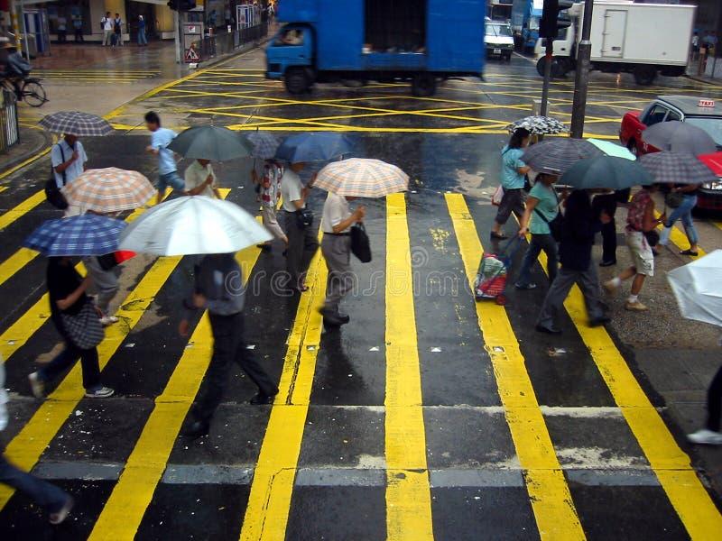 De kruising van de Weg in de Regen stock afbeelding