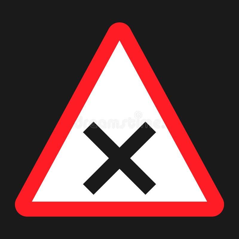 De kruispunten ondertekenen vlakke pictogram, Verkeer en verkeersteken vector illustratie